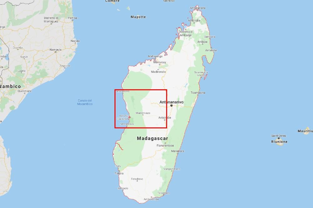 Mappa del Madagascar con evidenziata la zona del Parco Nazionale Tsingy di Bemaraha e dintorni