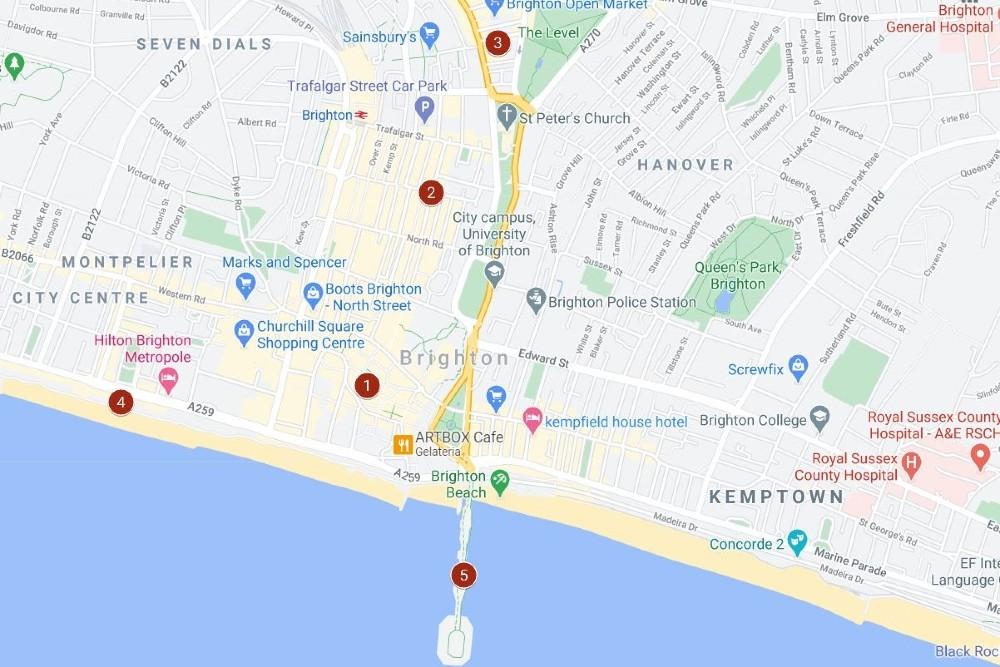 Itinerario del primo giorno a Brighton nell'East Sussex in Inghilterra