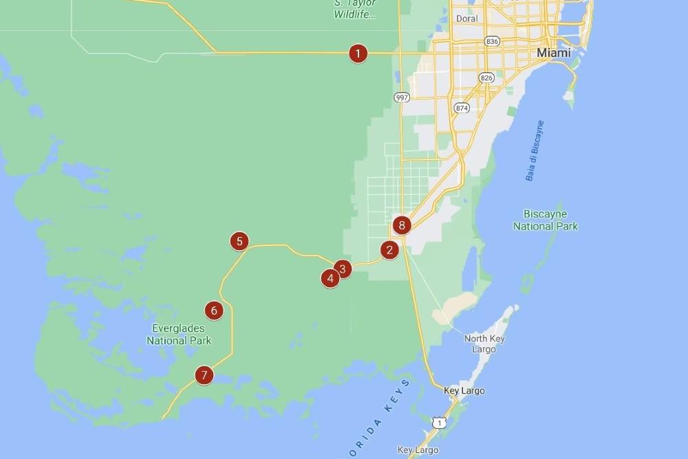 Mappa dell'itinerario per visitare in un giorno le Everglades in South Florida