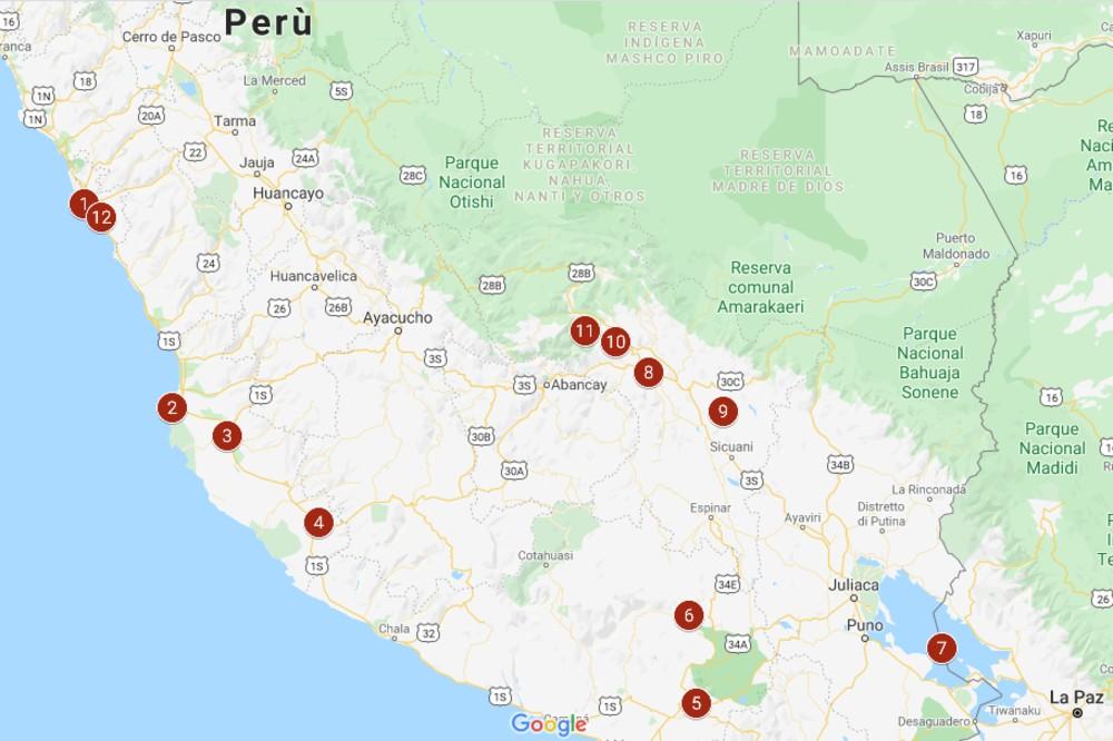 Mappa itinerario di due settimane in Perù