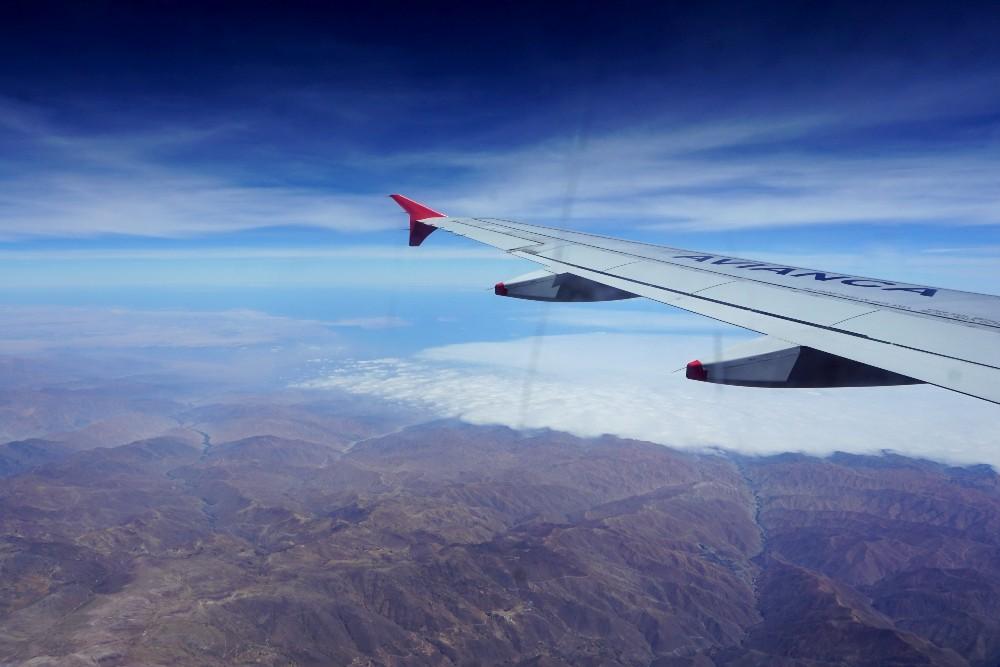 In volo sulle Ande verso Lima in Perù